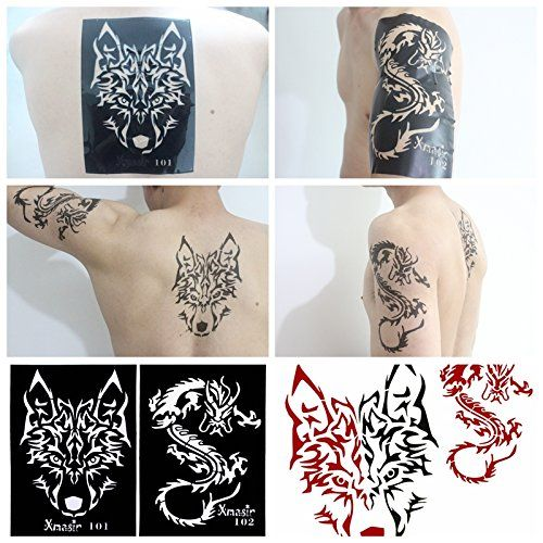 Xmasir 34 Pieces Airbrush Temporary Tattoo Stencils Kit for Men Arm ...
