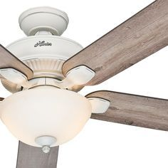 "Hunter 52"" Cottage White Outdoor Ceiling Fan with Grey Pine Blades & Light Kit #Hunter #Cottage"