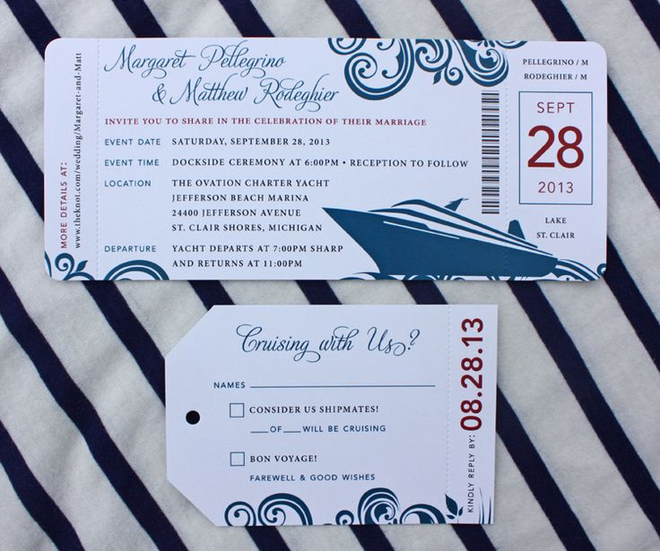Red & Blue Swirl Yacht Cruise Boarding Pass Wedding ...