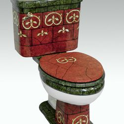 "Hand Painted Toilets by Atlantis - ""Cordova"" Painted on AP-3002 white Arena II elongated toilet 16"" comfort height."