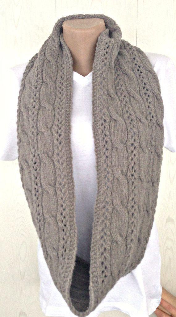 bufanda gris infinito teje bufanda de lana con un patrón tejer