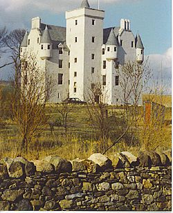 Leslie Castle is located outside the village of Leslie, 45 kilometres (28 mi) northwest of Aberdeen, in Aberdeenshire, Scotland. The building that stands there now dates back to the 14th century.