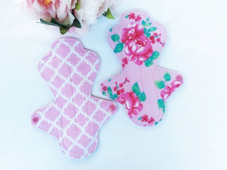 "Cloth pads, menstrual pads, set of 2, 9"", Medium flow, pretty rose pink, ready to ship by MyIndieKids on Etsy"