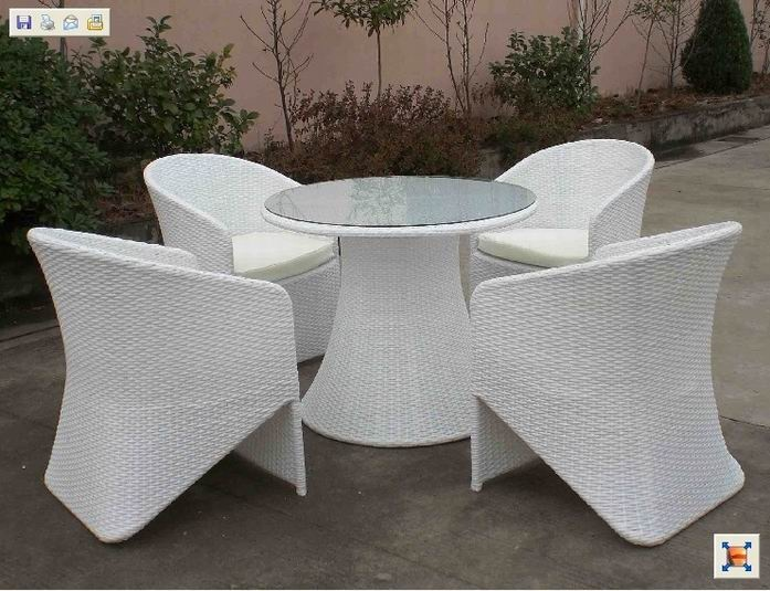 Model NO.:MG-103  4 * Arm chair:58*62*88cm  1 * Coffee table:90*90*72cm  Material:PE RATTAN+ALU FRAME  FOB Price:$336  MOQ:5 Sets