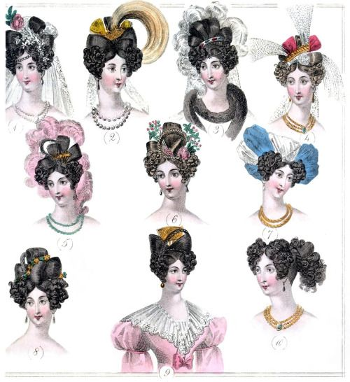 """1829 Parisian Coiffures: - 1: coiffure de mariée - 2, 3, 4: coiffure de cour - 5: coiffure de bal paré - 6, 8: coiffure de bal - 7: coiffure en turban - 9: coiffure chez soi - 10: coiffure à la grecque From """"The World of Fashion and Continental Feuilletons, Vol. 6"""", London, 1829. (Source: archive.org)"""