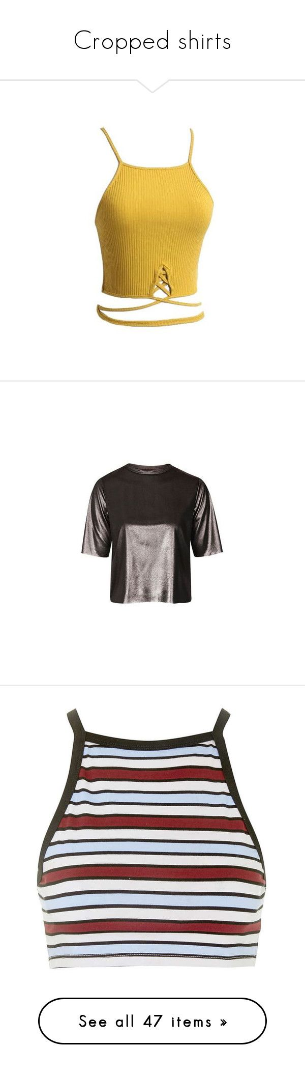 """""""Cropped shirts"""" by seanarice ❤ liked on Polyvore featuring yellow, yellow camisole, criss cross cami, print cami, yellow cami, cropped camis, tops, t-shirts, topshop and silver"""