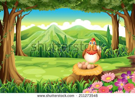 Illustration of a hen above the stump