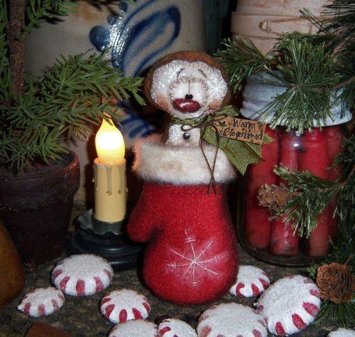 """Primitive Mitten Ornament 6"""" Gingerbread Snowman Doll Vtg Patti's Ratties Bear"""