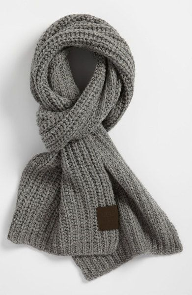 Ugg Chunky Rib Knit Scarf in Gray for Men (grey flannel) - Lyst