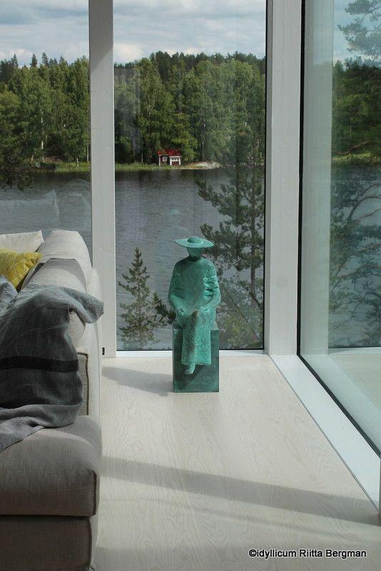 "I love ART! This detail is from VILLA SAIMAANHELMI. Interior design by Kirsi Valanti. The bronz-statue ""Odotus""  by Arvo Siikamäki (2016). Taidekeskus Salmela, Mäntyharju."
