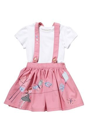 Pink Girl Braces Skirt (3mths-6yrs) with crochet heart top from the Next UK online shop