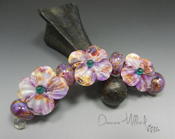 lampwork glass beads handmade artisan focal donna millard lampwork earrings bracelet donna millard purple violet flowers spring summer