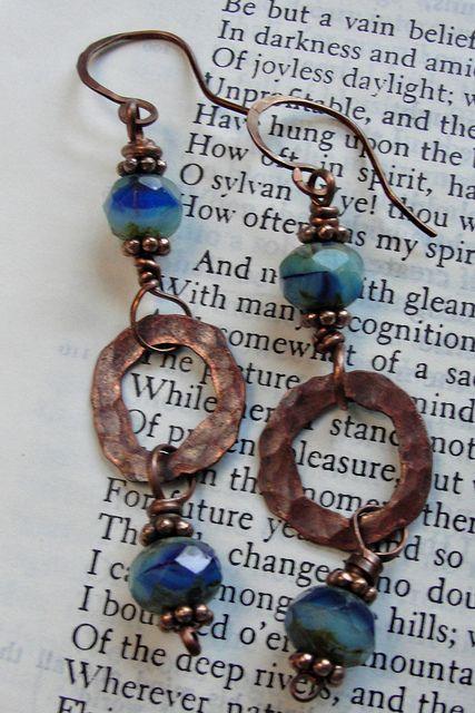 Blue Czech glass and copper earrings by hjwestfall, via Flickr