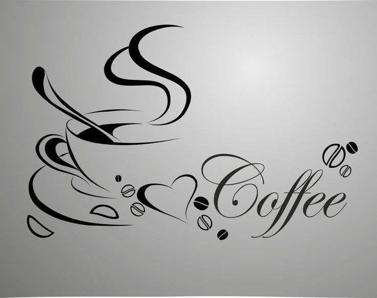 coffee cup, free shipping  vinyl quote removable wall Stickers, DIY home decor wall art $6.99