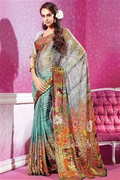 Multi Color Georgette Digital Printed Saree