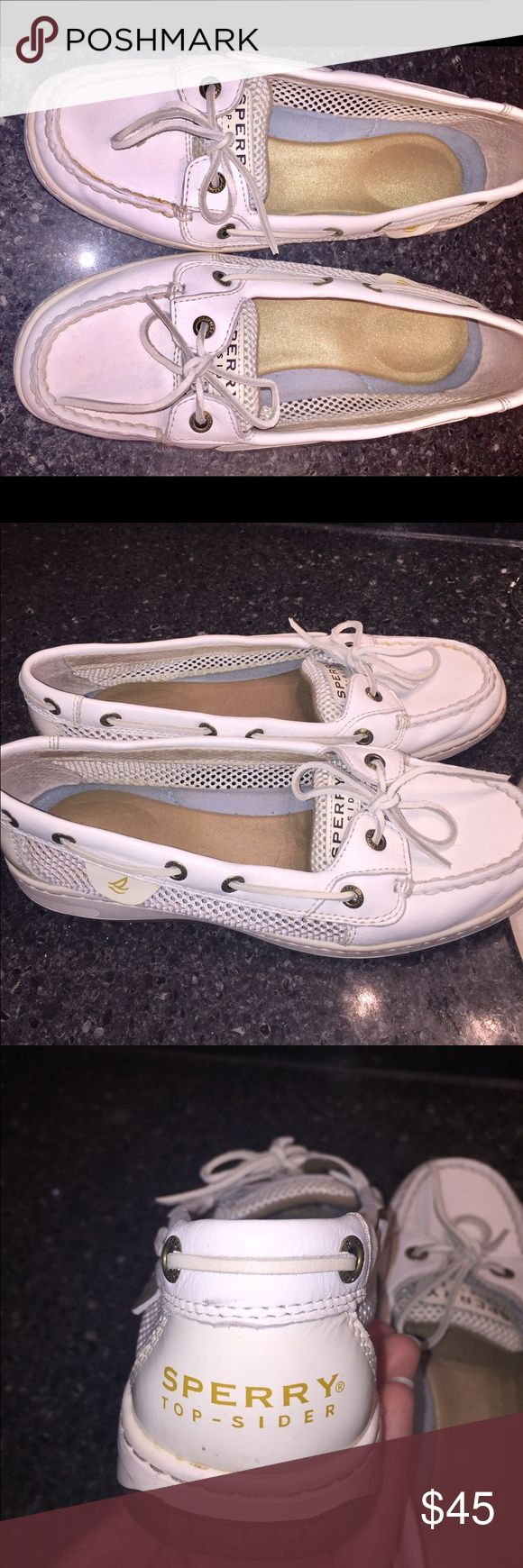 White Sperrys Hardly worn. So cute but i just grew out of them. Willing to hear offers! Sperry Top-Sider Shoes Flats & Loafers