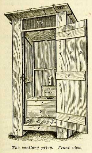 """The """"Household Discoveries"""" book from 1909 instructs how to build an outhouse, with plans simple enough for any average 14-year-old schoolboy to follow."""