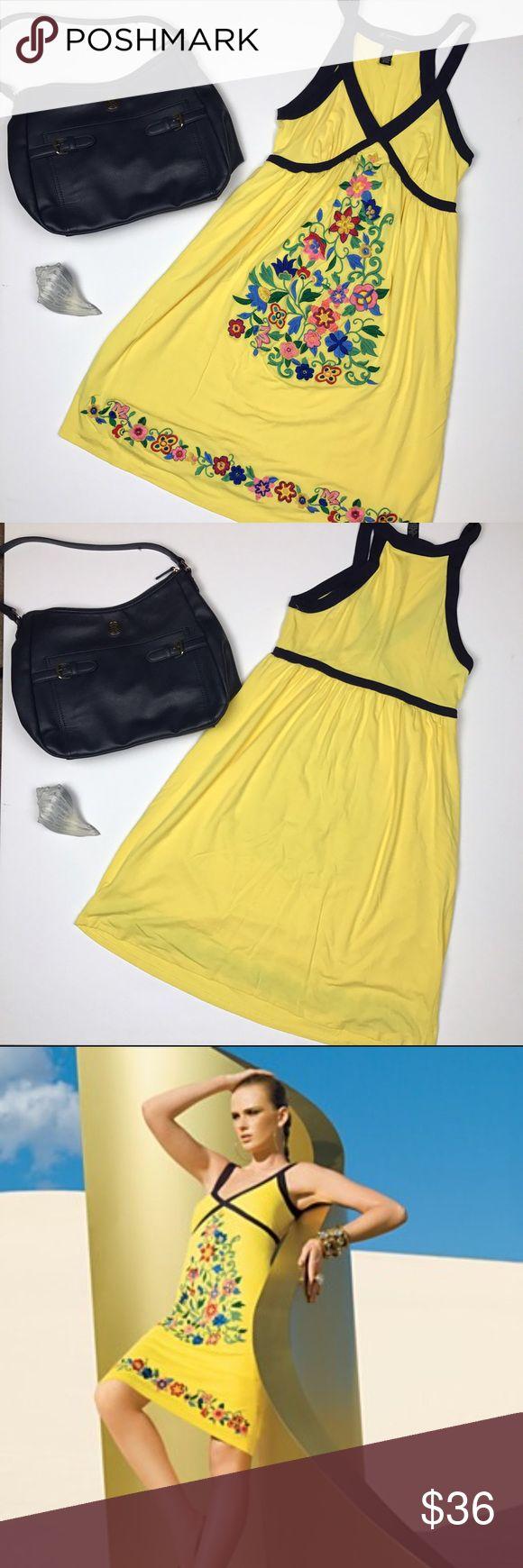 INC petite yellow embroidered floral dress sz S INC petite yellow with navy blue trim and embroidered floral motif on the front of the dress. Lined.  Size S petite. Ptp 14.5, length 38 INC International Concepts Dresses