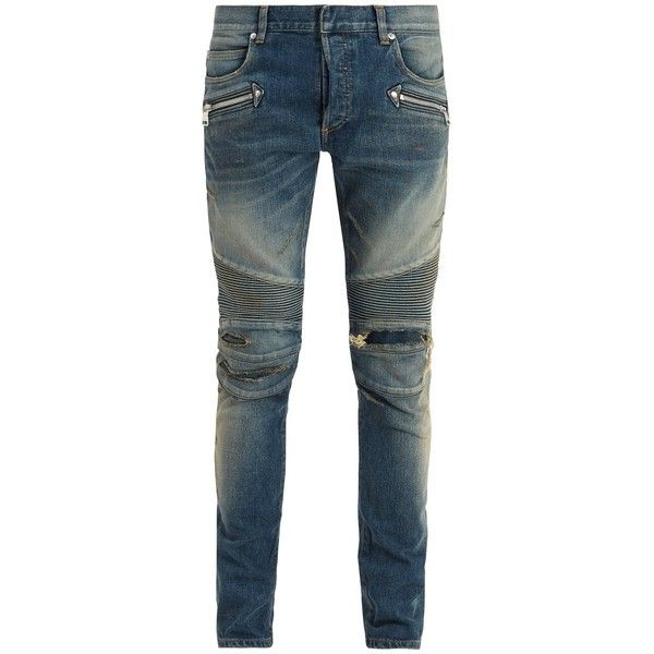 Balmain Mid-rise distressed skinny biker jeans ($1,550) ❤ liked on Polyvore featuring men's fashion, men's clothing, men's jeans, mens skinny biker jeans, mens skinny fit jeans, mens skinny jeans, mens torn jeans and mens distressed skinny jeans
