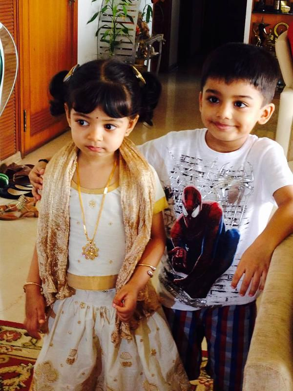 Here is Aishwarya Rai Bachchan and Abhishek Bachchan's little doll Aaradhya Bachchan looking adorable in a traditional wear. She is clicked with cousin Vihaan Rai. The two cousins seem to be pretty cl