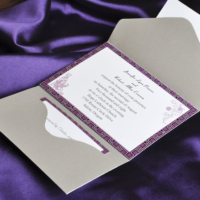 elegant purple and gray pocket wedding invitation