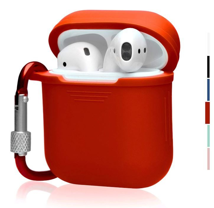 81d02219435 The OAKS Improved Airpods Case Protective Cover and Skin for Your Airpods  Charger Case with Lockable Carabiner and Airpods Strap (6 colours  available) (Red)