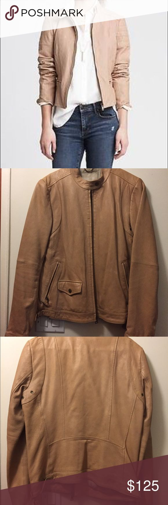 Banana Republic tan leather jacket Buttery smooth leather jacket, worn for a season but well taken care of Banana Republic Jackets & Coats Utility Jackets