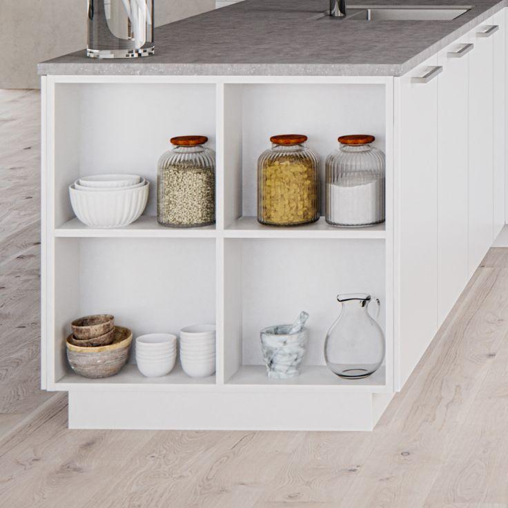 Laat woonkamer en keuken in elkaar overvloeien met Kvik. Gebruik onze open kasten voor een vloeiende overgang en een harmonieuze uitstraling van de ruimte.