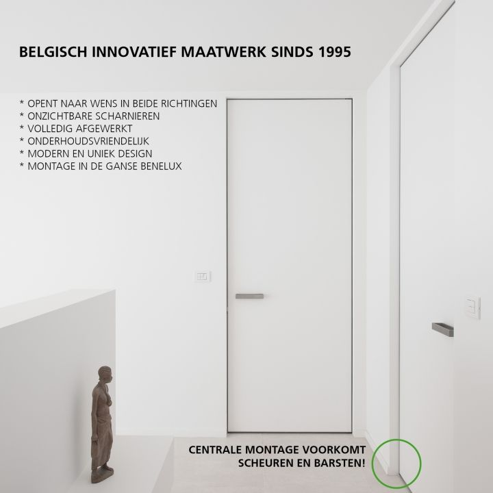 Onzichtbare binnendeuren op maat met een aluminium kozijn