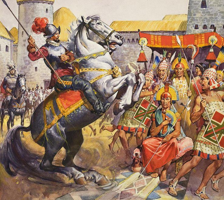 Meeting at Pultumarca. Hernando de Soto, one of Pizarro's men, rears his horse scaring the guard of Inca emperor Atahualpa