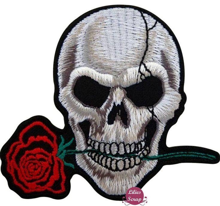 Ecusson brodé tête de mort & rose rouge skull patch thermocollant 10 cm de la boutique LiliesScrap sur Etsy