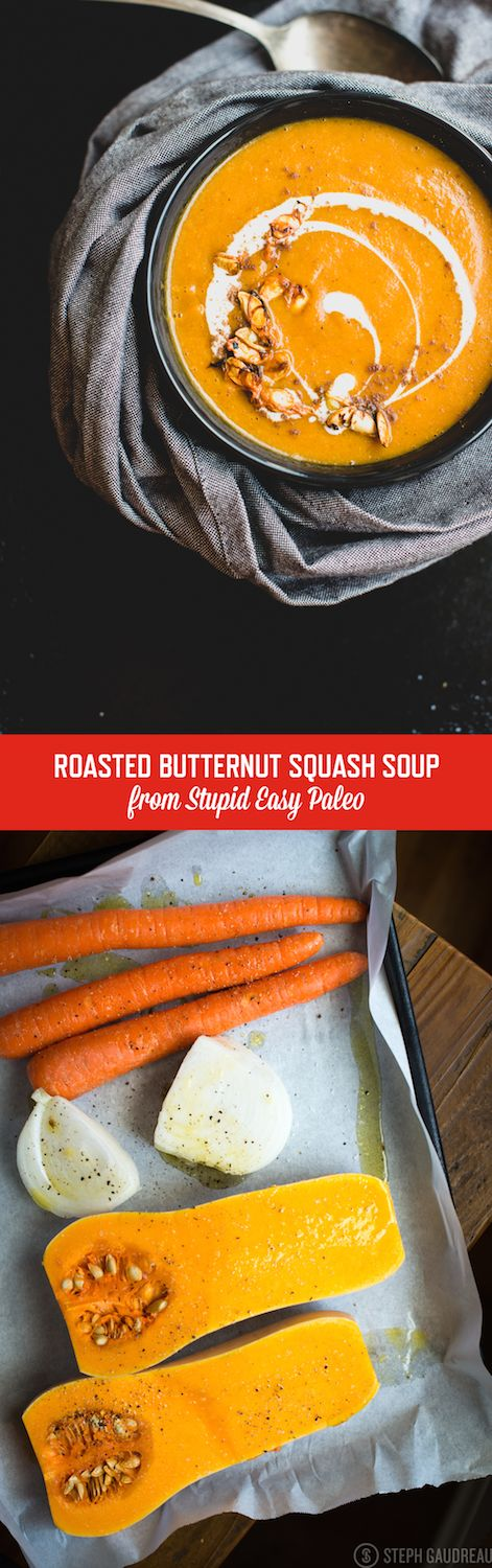 This Roasted Butternut Squash Soup recipe is rich with flavor from developing caramelization on the veggies first! Dairy-free and Paleo! | StupidEasyPaleo.com