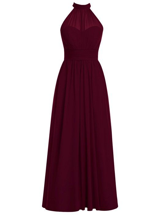 Dresstells® Long Bridesmaid Dress High Neck Chiffon Prom Dress Side Split Burgundy Size 6