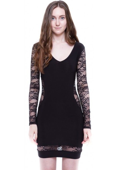 HAKKA BODYCON DRESS WITH LACE INSERTS | HAKKA FASHION | http://www.hakkafashion.com/dresses/117-hakka-black-lace-contrast-bodycon-dress-.html?search_query=LACE&results=30