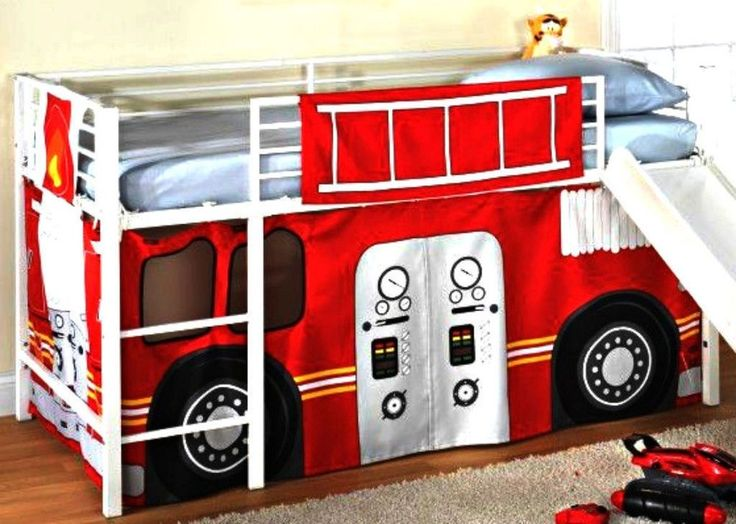 Details about fireman boys firetruck bunk bed curtains set loft furniture kids toddler bedroom - Ikea fire truck bed ...