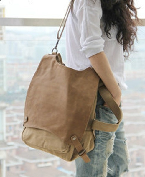 Vintage Khaki Canvas Backpack with Buckle Belt Detail and Oversized Flap Front