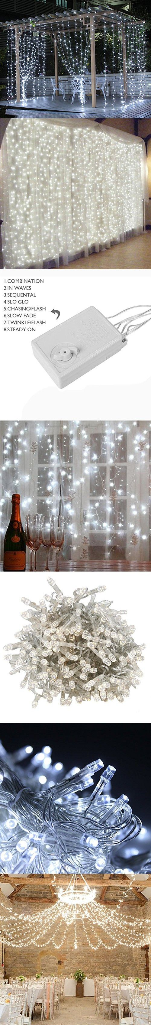 Blinngo LED Backdrop Lights, 300 LED 9.8ft x 9.8ft Waterproof Window Curtain Lights String Fairy Light for Wall, Bedroom, Wedding, Party, Holiday, Indoor, Outdoor Decorations (White)