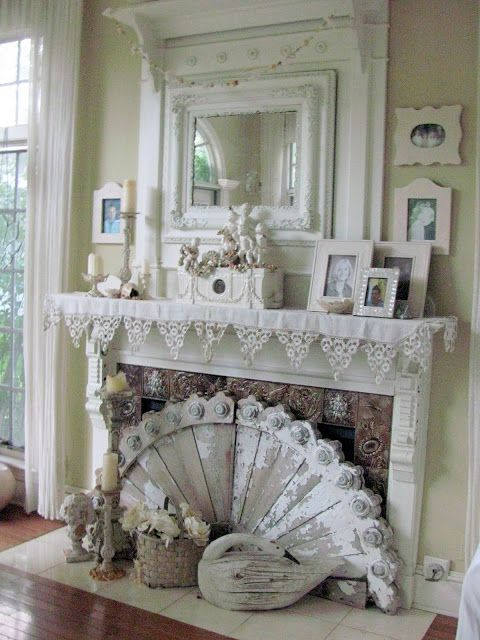 Vintage Shabby Chic fireplace vignette