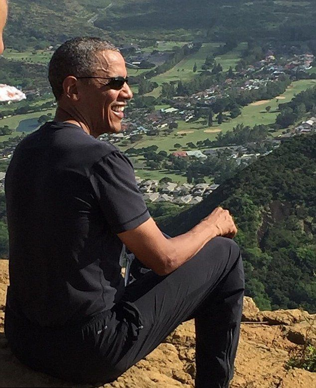 It's not everyday that you bump into the US President while hiking up a mountain.  The Obamas were on their annual two-week holiday in Hawaii, when they were spotted on the grueling trail, sometimes referred to as 'The Stairmaster from Hell' or 'The Koko Head Stairs Of Doom'.  The