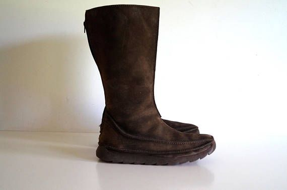 Vintage leather boots by Clarks ORIGINALS Brown womens boots Genuine suede leather boots US size 8 UK 6 Zipper on the back Made in Vietnam Good vintage condition with minor signs of use that gives a special chic Dimension Information US size 8 UK 6 Height - 33 cm, sole 02 cm Heel 2.5