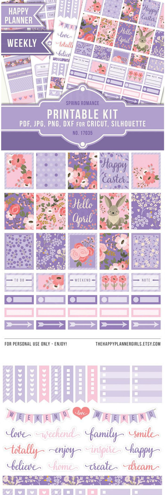 These PRINTABLE planner stickers are perfect for the MAMBI Happy Planner Classic but of course they can be used in other type of planners as well. Happy Planner Stickers April , Easter Planner Stickers, Weekly Planner, Printable Planner Stickers, Weekly Stickers, MAMBI #hellospring #easter #easterdiy #ad #stickers #happyplanner #printables #bulletjournals #cutfile #etsy