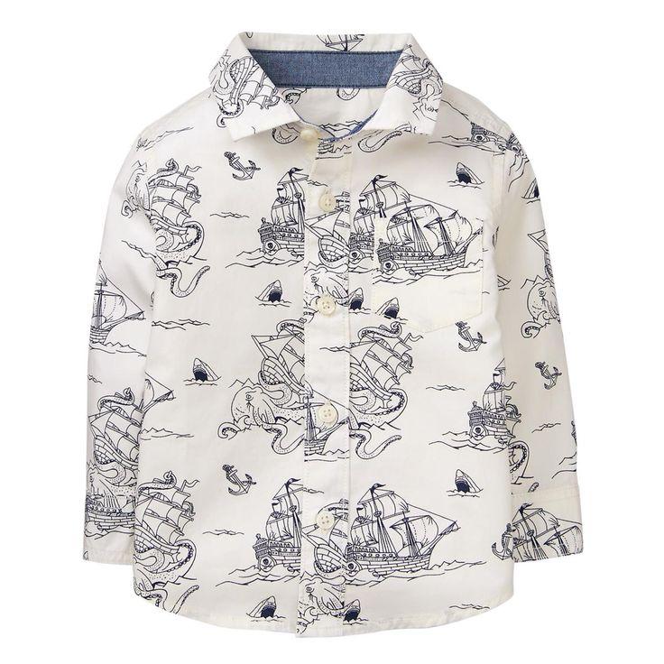 Toddler Boy White Ship Pirate Ship Shirt by Gymboree