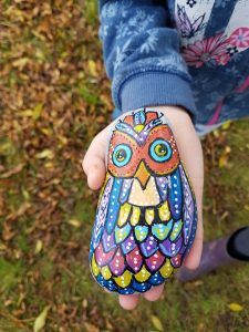 Rock painting.  Let the kids have fun painting rocks then hide them round your town/village for others to find.  We found this gorgeous owl!