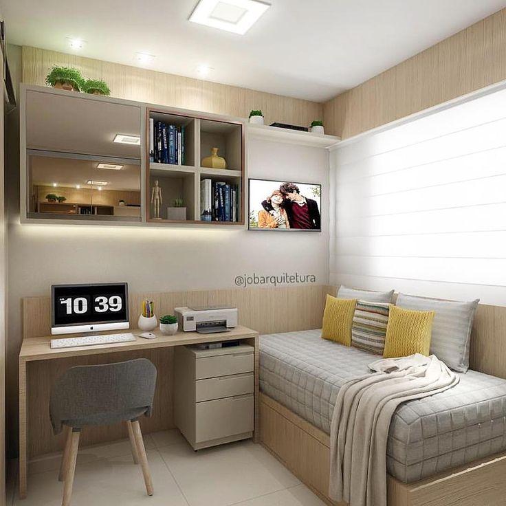 Mdf claro com vidro bronze fazem a composição desse quarto de adolescente. •…