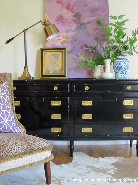 DIY painted bamboo dresser from Craigslist, high gloss black with brass hardware - Pam @ Simple Details
