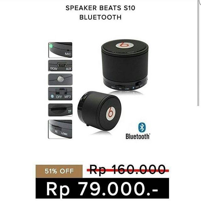 Speaker Bluetooth Beats S10 by Dr. Dre  Warna : Hitam Biru Merah silver  Range bluetooth 10m  Bisa digunakan untuk radio  Bonus Kabel Data (untuk charge)  Kualitas suara good  Stereo & Bass  Garansi 1 bulan pemakaian  Harga : 79.000 (normal 160.000)  Nanya ongkir barang warna stock? langsung aja Order  Line : AZZAGADGET Whatsapp : 081357776262  #speakerbluetoothbeatss10 #speakerbluetoothbeats #speakerbluetoothbeatsmurah #speakerbluetoothbeatmurah #speakerbluetoothbeatspromo…