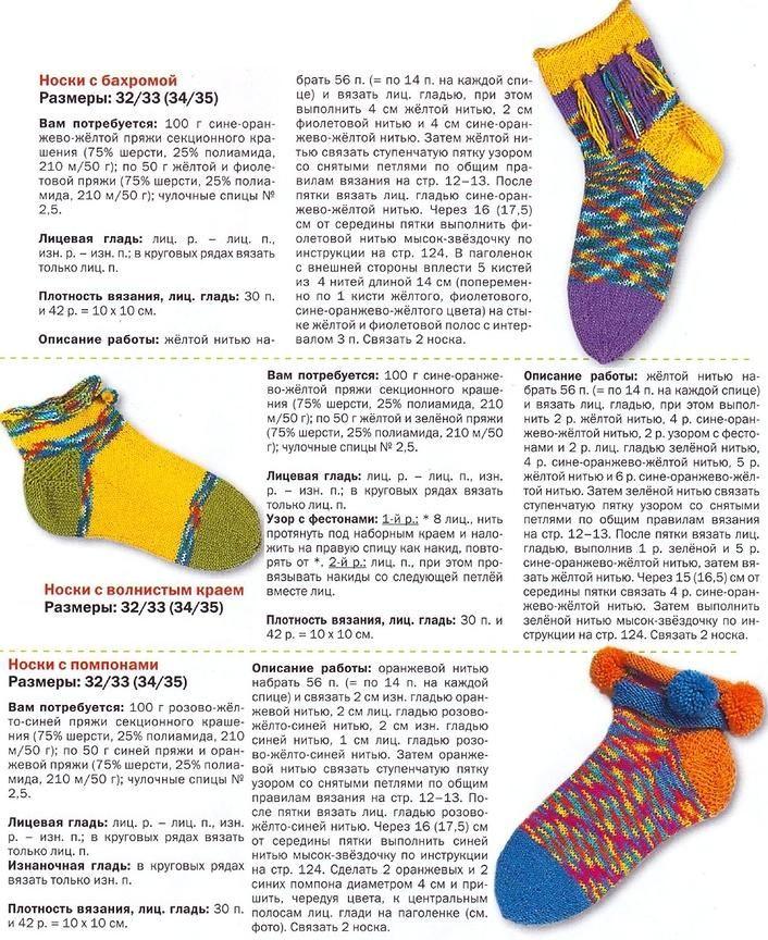 Вяжем носки спицами: вяжем яркие носки