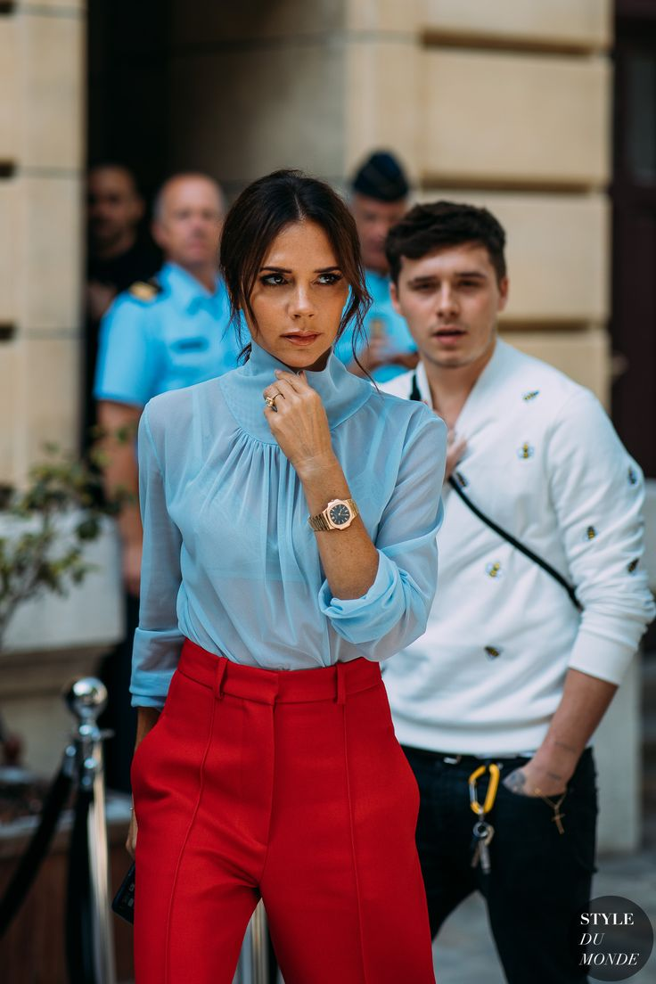Paris Men's Fashion Week SS 2019 Street Style: Victoria and Brooklyn Beckham