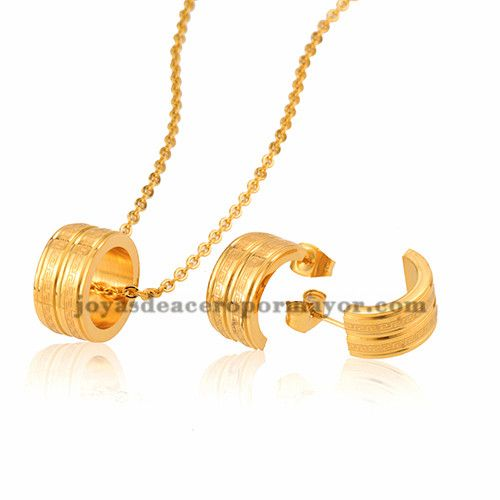 juego collar y aretes de moda dorado circulo en acero inoxidable para…