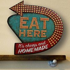 Antique style vintage look Enamel Eat Here Gas Pump Mam Cave Fuel Sign!